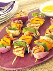 Grilled Mango, chicken and Shrimp Skewers
